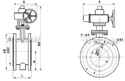 d942x软密封电动法兰蝶阀结构图